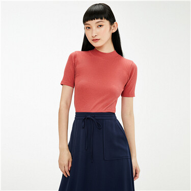 Mockneck ribbed slim short-sleeve tee