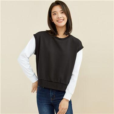Fake 2-piece contrast loose sweatshirt