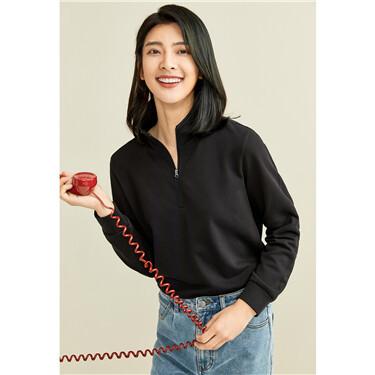 Stand collar half placket sweatshirt