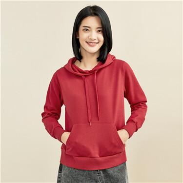 Solid color kanga pocket hoodie