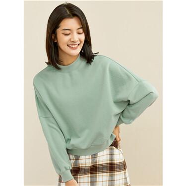 Embroidery dropped-shoulder crewneck sweatshirt
