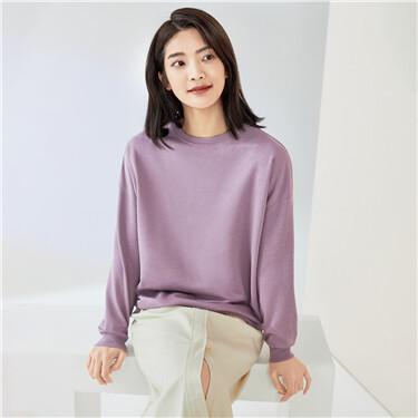 Solid color loose dropped-shoulder sweatshirt