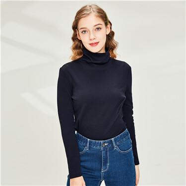 Stretchy slim high-neck long-sleeve tee