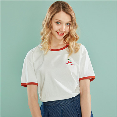 Embroidery fruits crewneck short sleeve tee