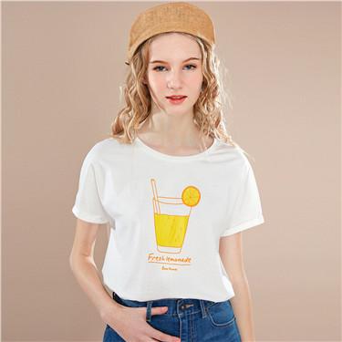 饮品印花圆领和服袖T恤