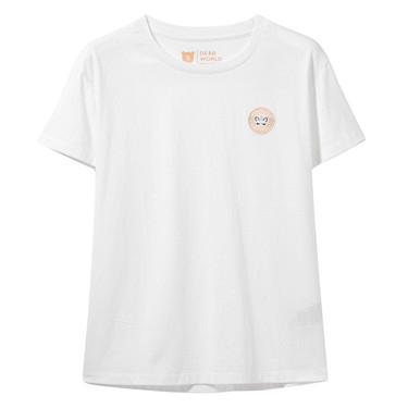 小刺繡純棉圓領短袖T恤