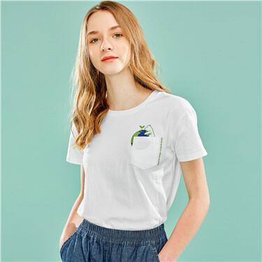 印花口袋纯棉圆领短袖T恤