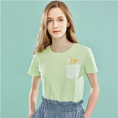 印花口袋純棉圓領短袖T恤