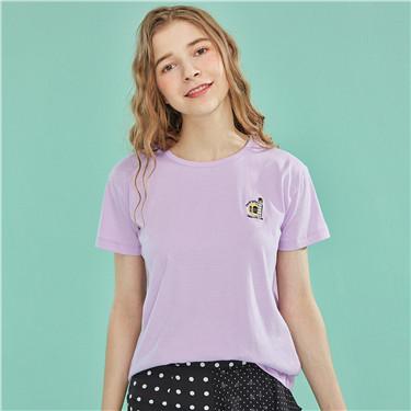 小刺绣纯棉圆领短袖T恤