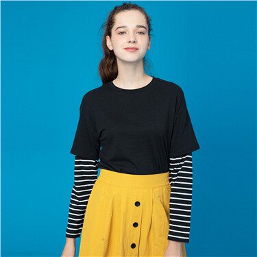 Fake 2-piece crewneck long-sleeve tee