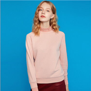 Mock neck long sleeves sweatshirt