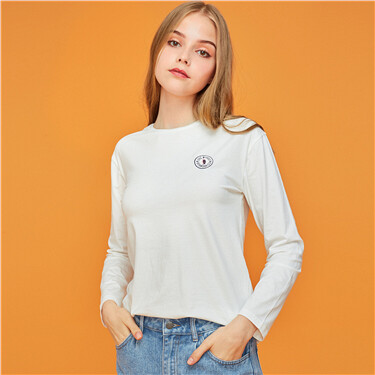 Embroidery crewneck long-sleeve tee
