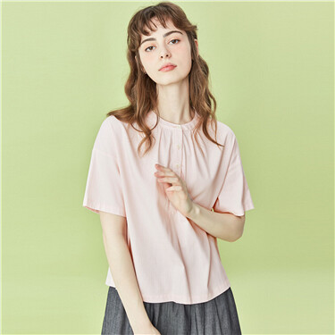 Crewneck half placket short-sleeve shirt