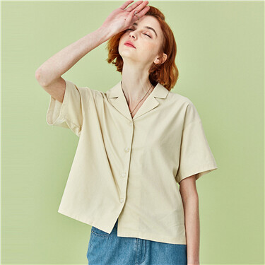 Tailor collar short-sleeve shirt