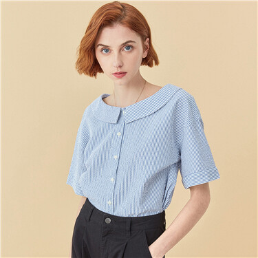 Puff short-sleeve crewneck stripe shirt