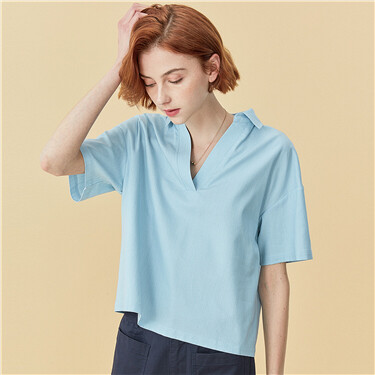V-neck short-sleeve shirt