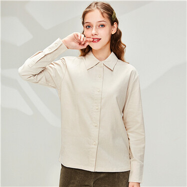 Corduroy puff sleeves shirt