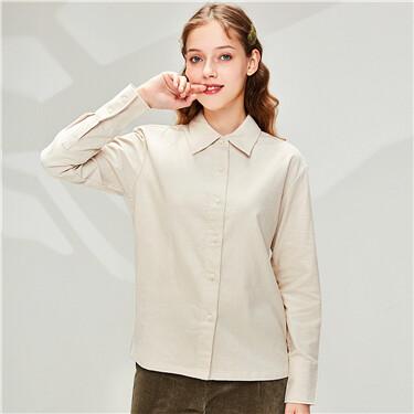 Corduroy puff sleeves shirt