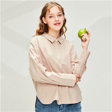 Flannel cotton placket shirt