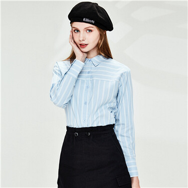 Stripe faux tencel long-sleeve