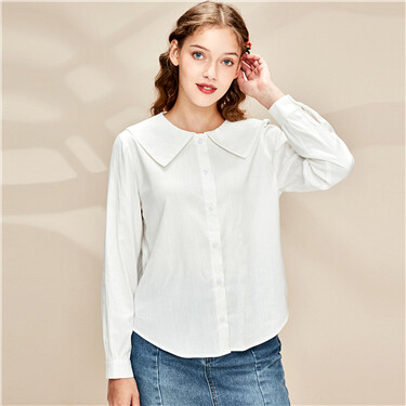 Faux tencel turn-down collar shirt