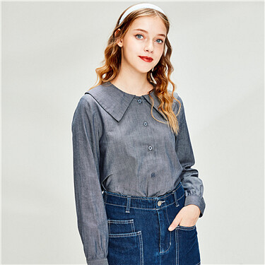 Faux tencel turn-down collar shirt