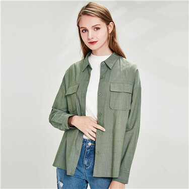 Flap pockets long-sleeve casual shirt