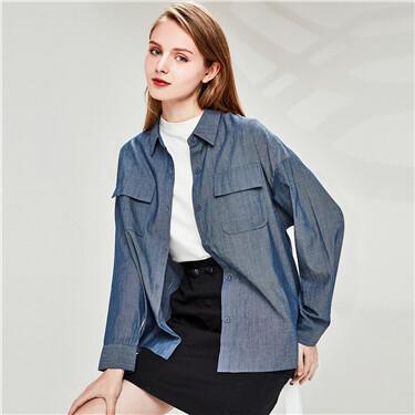 Flap pockets long-sleeve casual shirt