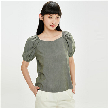 Plain square-neck puff sleeves shirt