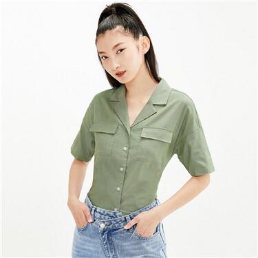 Loose cargo pockets flat collar shirt