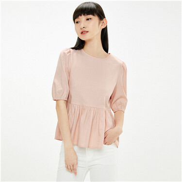 Puff sleeves pleated crewneck blouse