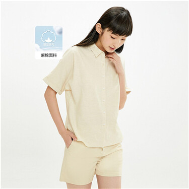 Linen-cotton raglan sleeves shirt