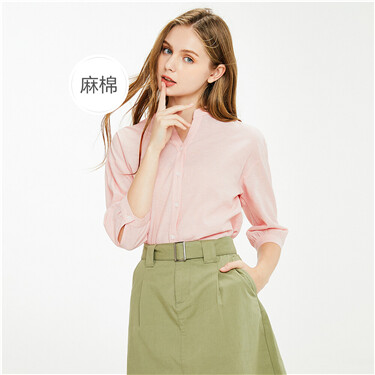 Linen-cotton V neck drop-shoulder-sleeve blouse