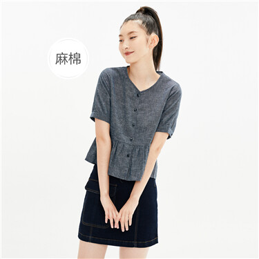 Linen-cotton v-neck lotus hem shirt