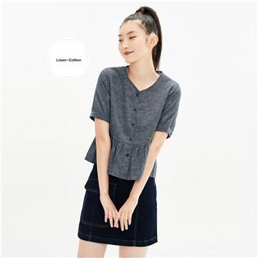 Linen-cotton v-neck lotus hem shirt