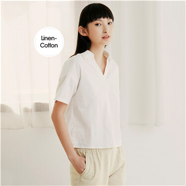 Linen-cotton V-shaped half-placket shirt