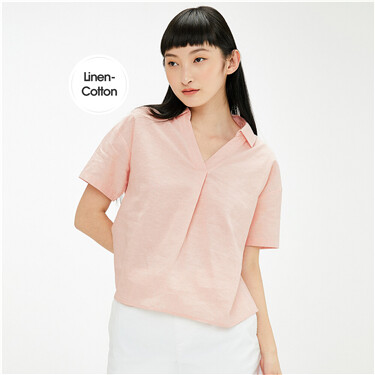 Linen-cotton V-shaped half-placket shirt