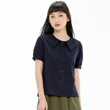 Sailor collar puff sleeves shirt