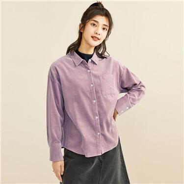 Corduroy patch pocket loose shirt