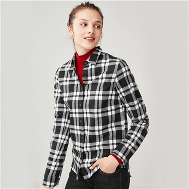 Flannel long-sleeve casual blouse