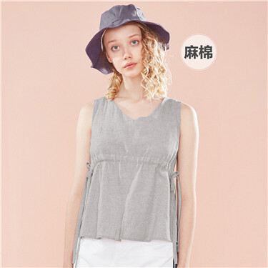 Linen-cotton banded-waist V neck shirt vest