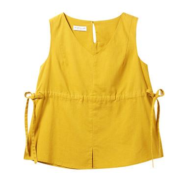 天然麻棉束腰V领衬衫背心
