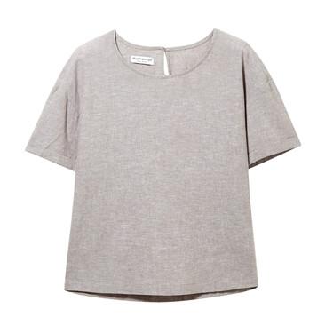 天然麻棉圆领短袖衬衫