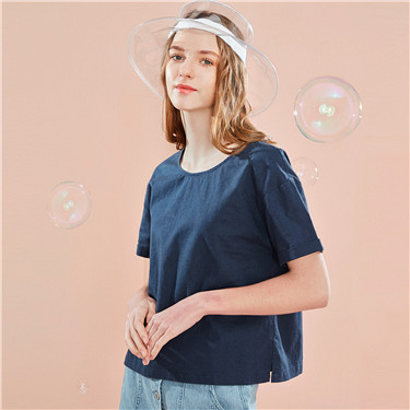 Linen-cotton crewneck blouse
