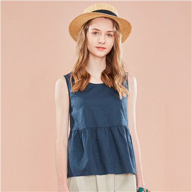 Linen-cotton ruffled hem crewneck shirt vest