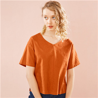 Linen-cotton V neck short-sleeve blouse