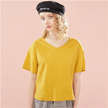 Linen-cotton V neck short-sleeve blouse