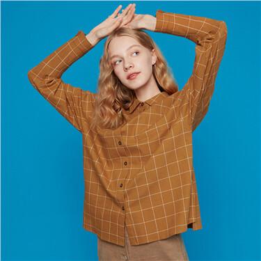 法兰绒纯棉格子长袖衬衫