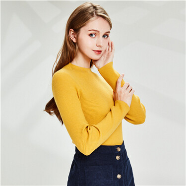 Slim Plain Mock Neck Sweater
