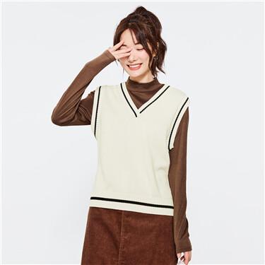 V-neck sleeveless cardigan